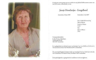 Jans Houthuijse-Eengelberd overleden